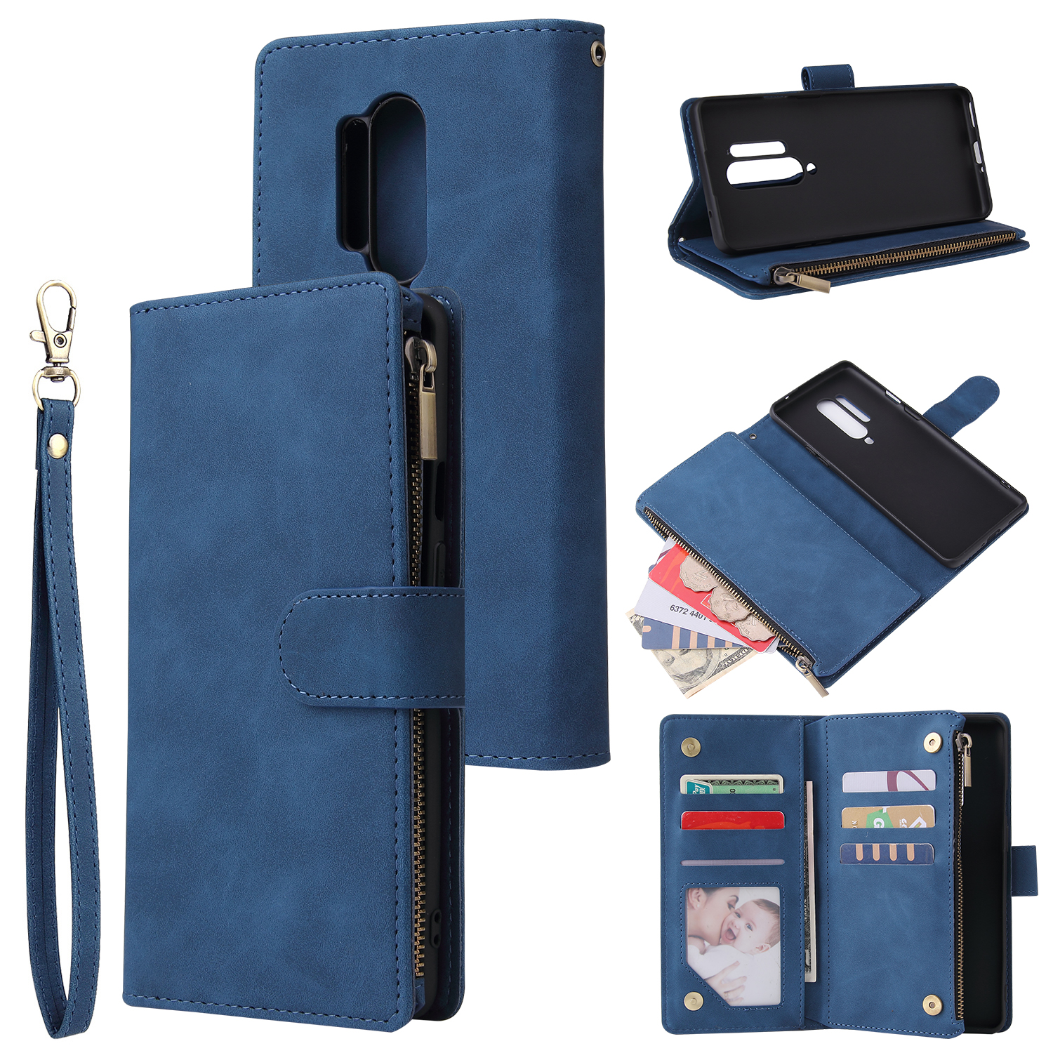 For One plus 8 pro Mobile Phone Case Smartphone Shell Wallet Design Zipper Closure Overall Protection Cellphone Cover  2 blue