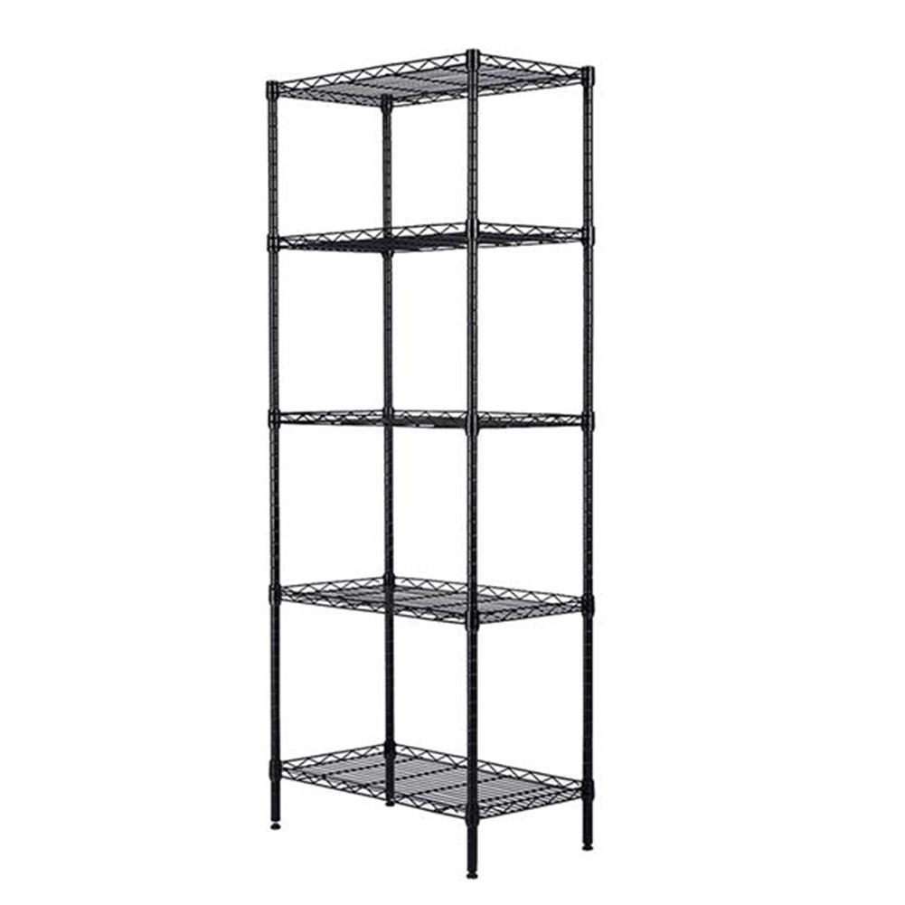 [US Direct] Metal Storage  Shelves Home Kitchen Microwave Oven Rack Organizer black