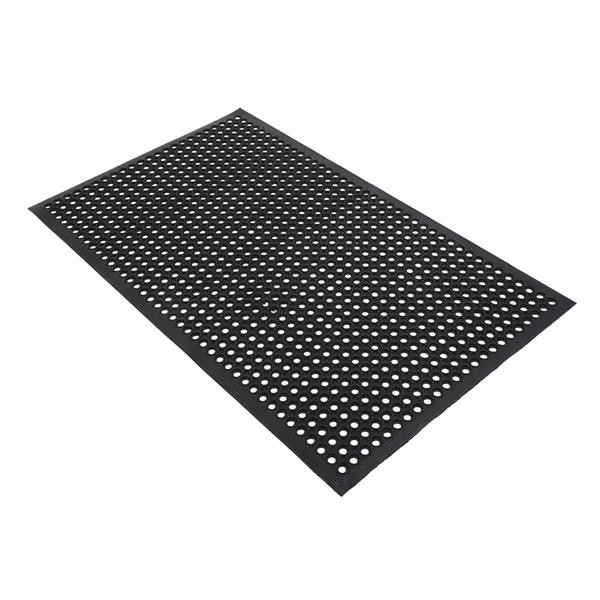 [US Direct] Rubber Floor  Mat With Holes Non-slip Drainage Mat For Kitchen Restaurant Bar Bathroom Indoor Outdoor Cushion 150*90cm black