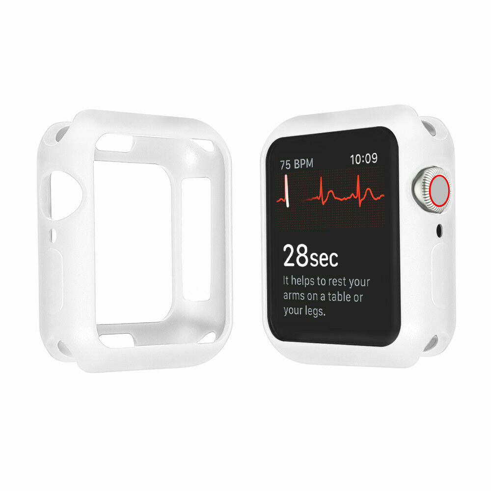For Apple Watch Series 4 3 2 1 Bumper Silicone Protector Case Cover 38/40/42/44mm white_38mm