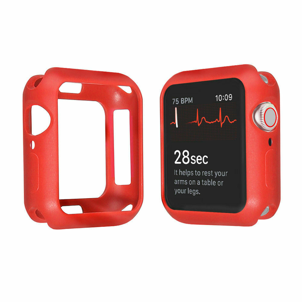 For Apple Watch Series 4 3 2 1 Bumper Silicone Protector Case Cover 38/40/42/44mm red_38mm