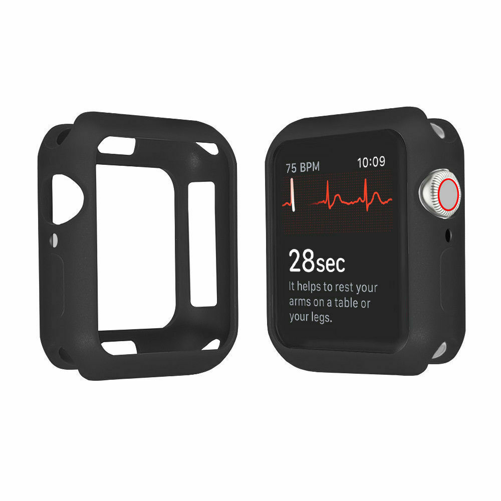 For Apple Watch Series 4 3 2 1 Bumper Silicone Protector Case Cover 38/40/42/44mm black_40mm