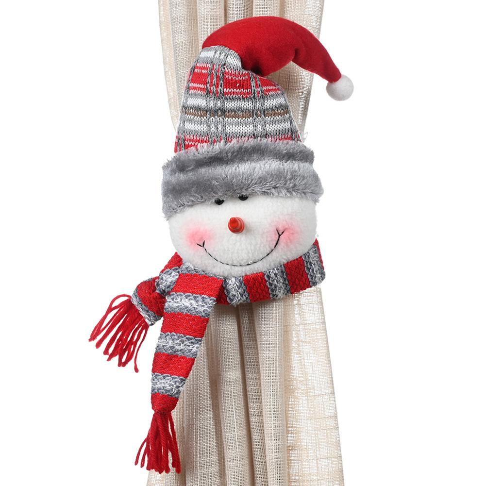 New Cartoon Creative Christmas Xmas Rubber Band Curtain Buckle Christmas Window Decoration Snowman