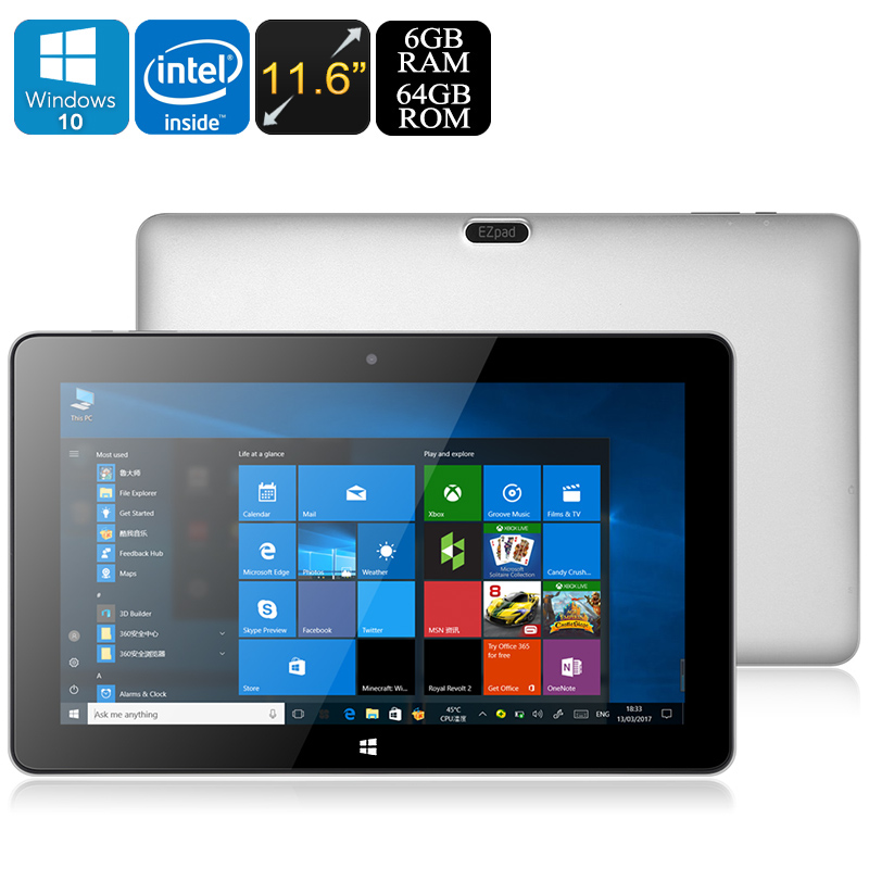 Jumper EZpad 6 Pro Tablet PC - Windows 10, Apollo Lake CPU, 6GB DDR3L RAM, 11.6-Inch Display, 1080p, 9000mAh, OTG