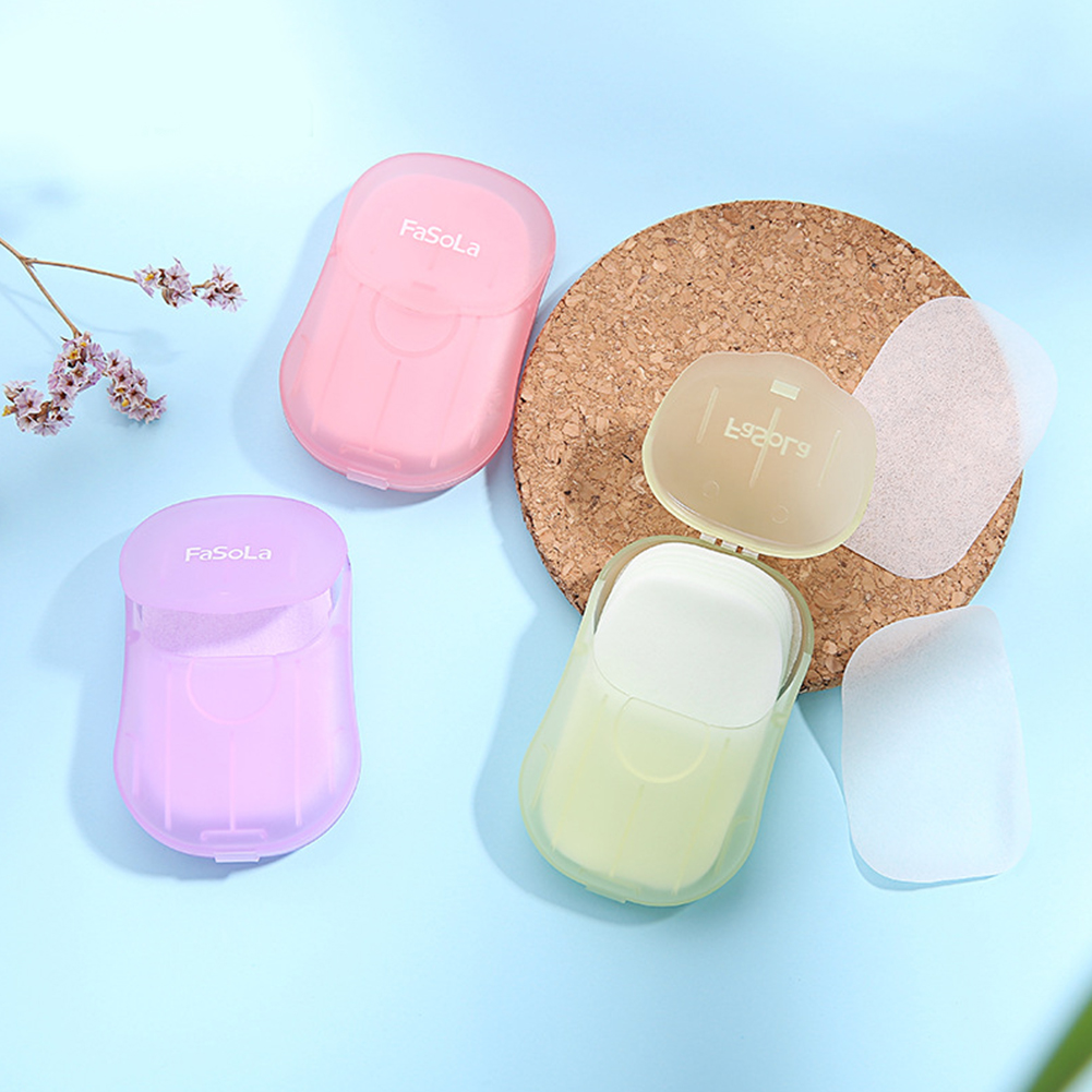 50pcs/Box Disposable Mini Soap Travel Washing Hand Bath Soap Paper Foaming Soap Case Paper