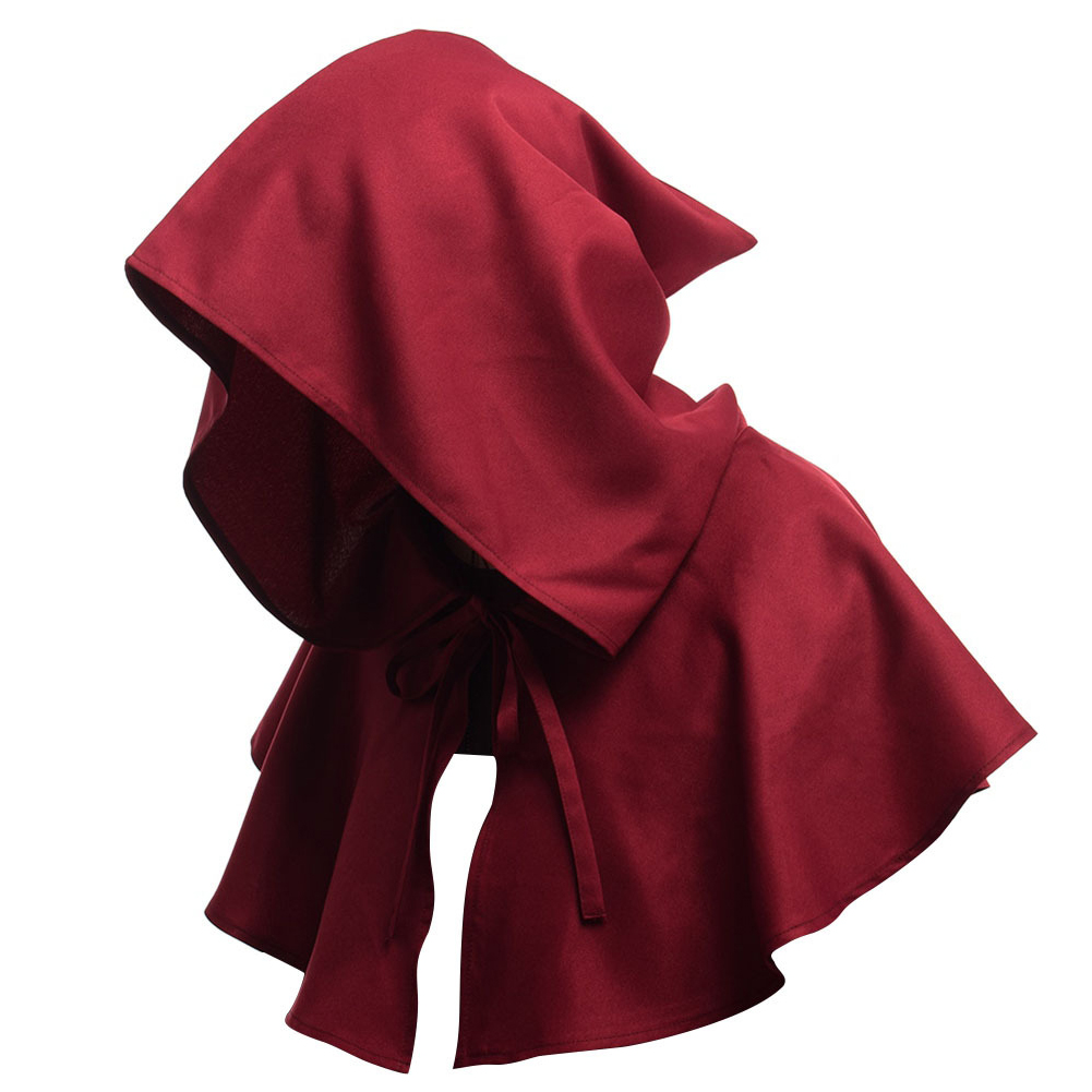 Men Women Medieval Windcap Halloween Witch Hooded Cloak Cape Witchcraft Pagan Role Playing Red wine_One size