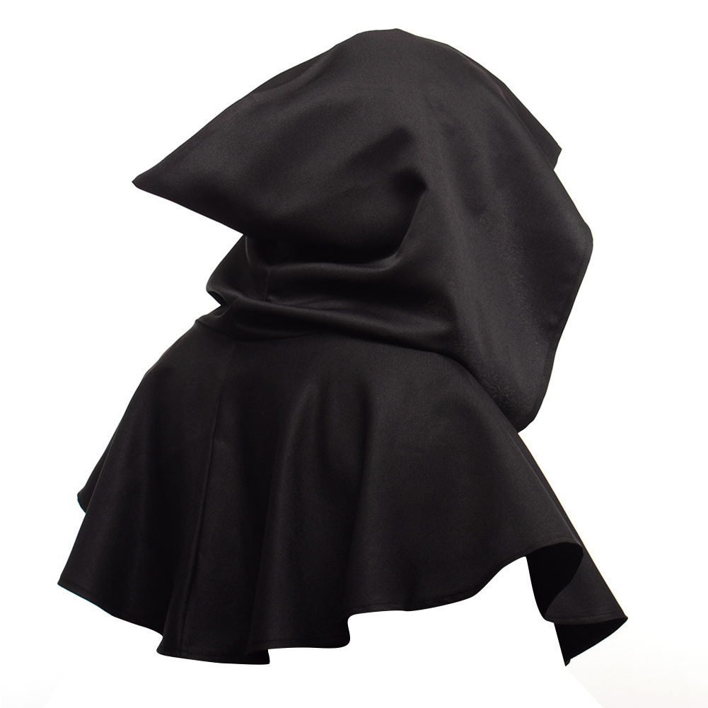 Men Women Medieval Windcap Halloween Witch Hooded Cloak Cape Witchcraft Pagan Role Playing black_One size