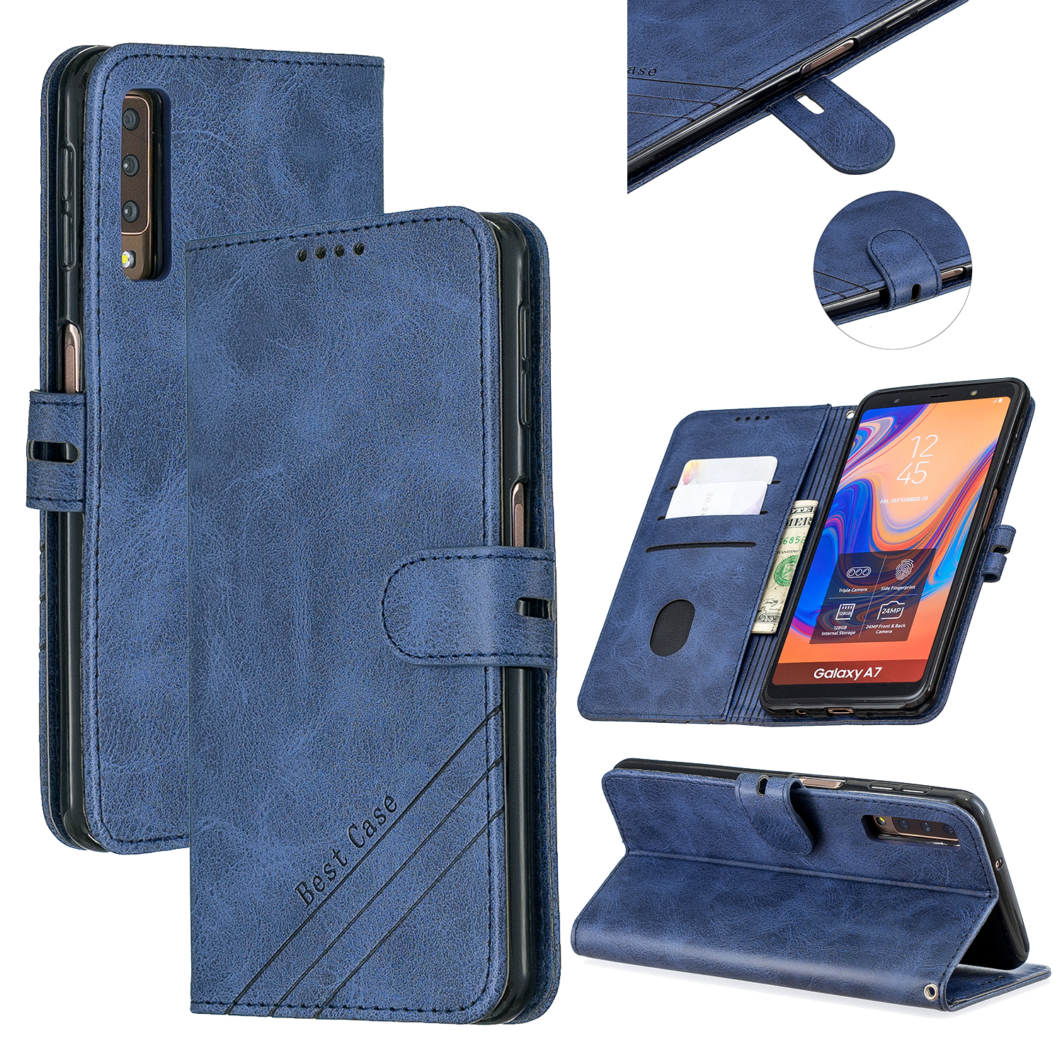 For Samsung A7 2018 Denim Pattern Solid Color Flip Wallet PU Leather Protective Phone Case with Buckle & Bracket blue