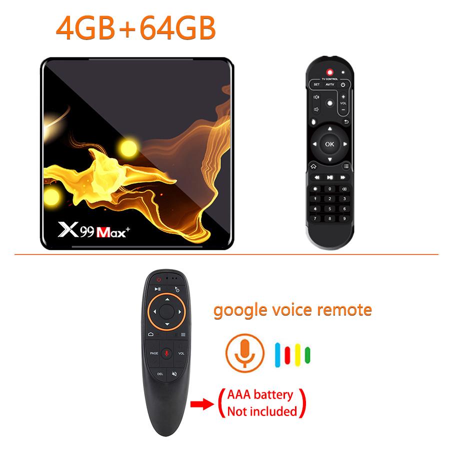 X99 Max+ Tv  Box S905x3 Chip Dual Frequency Wifi Uad Core 4gb Ram 32gb 64gb Wifismart Tv Box 4+64G_US plug+G10S remote control