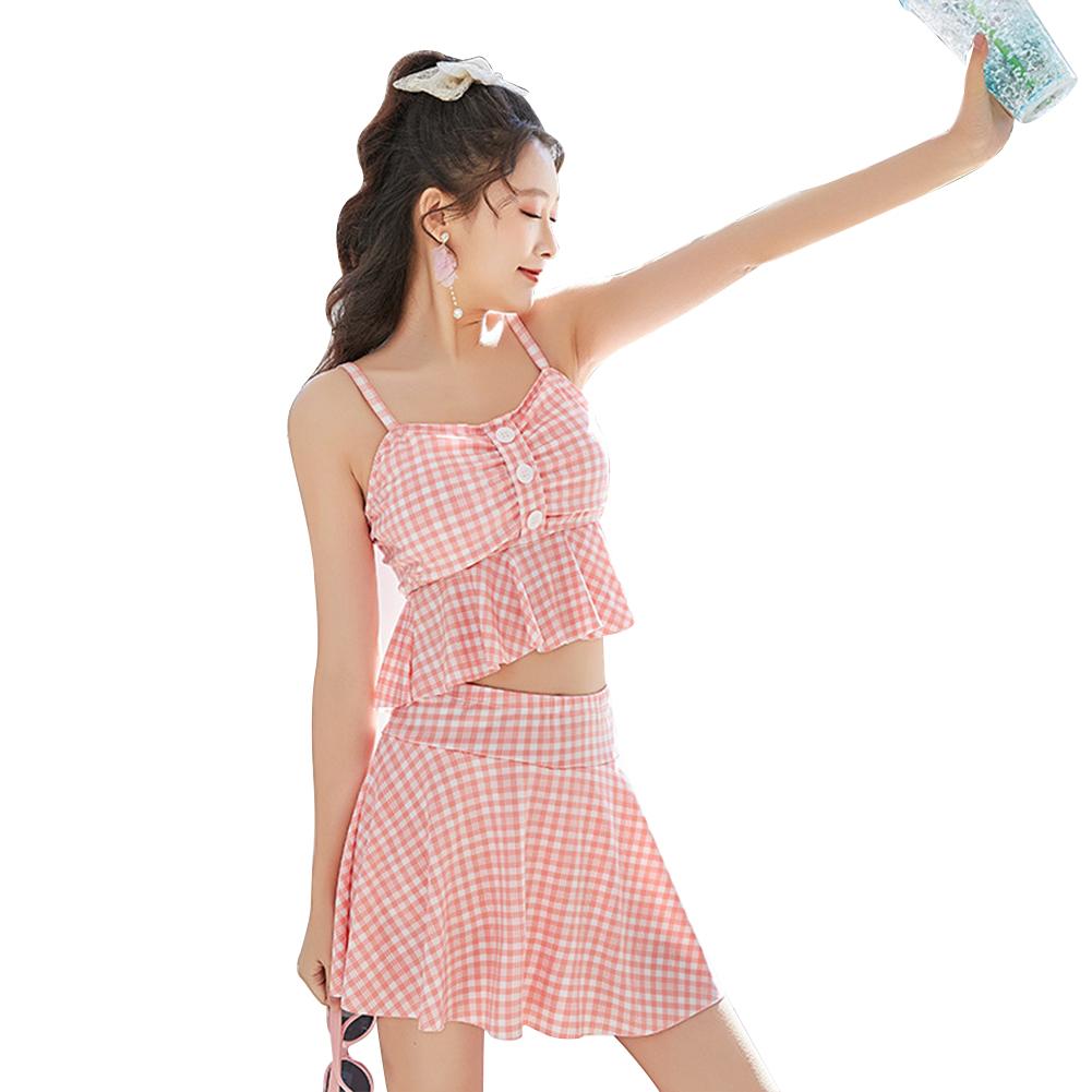 2 Pcs/set Female  Summer  Swimsuit  Split Two-piece Small Fresh Conservative Swimsuit For Women Pink_L