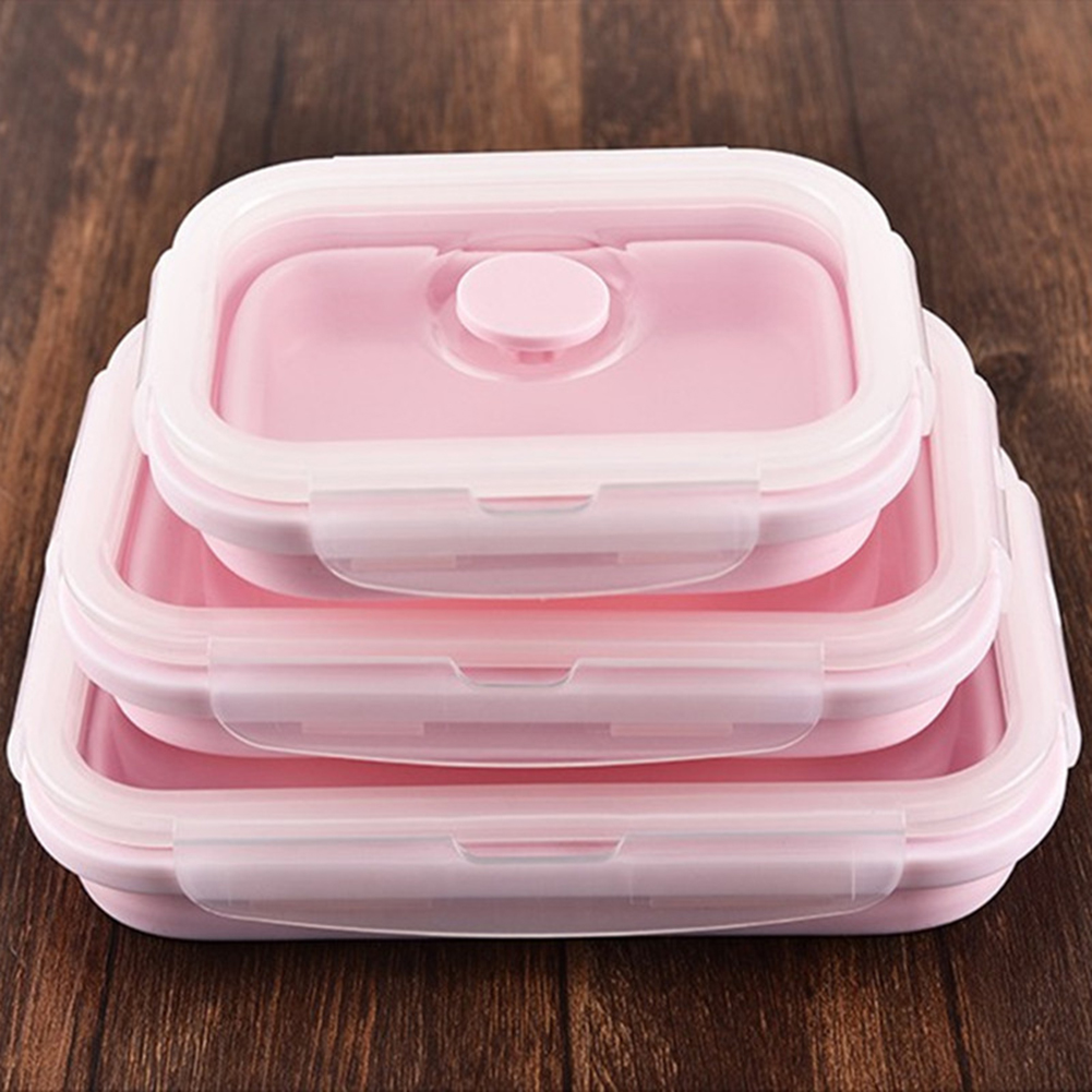 3Pcs/Set Folding Silicone Lunchbox High Temperature Resistant Silica Gel Preservation Box