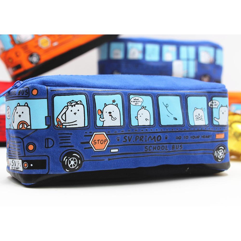 Men Women Cartoon Bus Shape Canvas Pencil Case Stationery Storage Bag blue_19*6.5cm