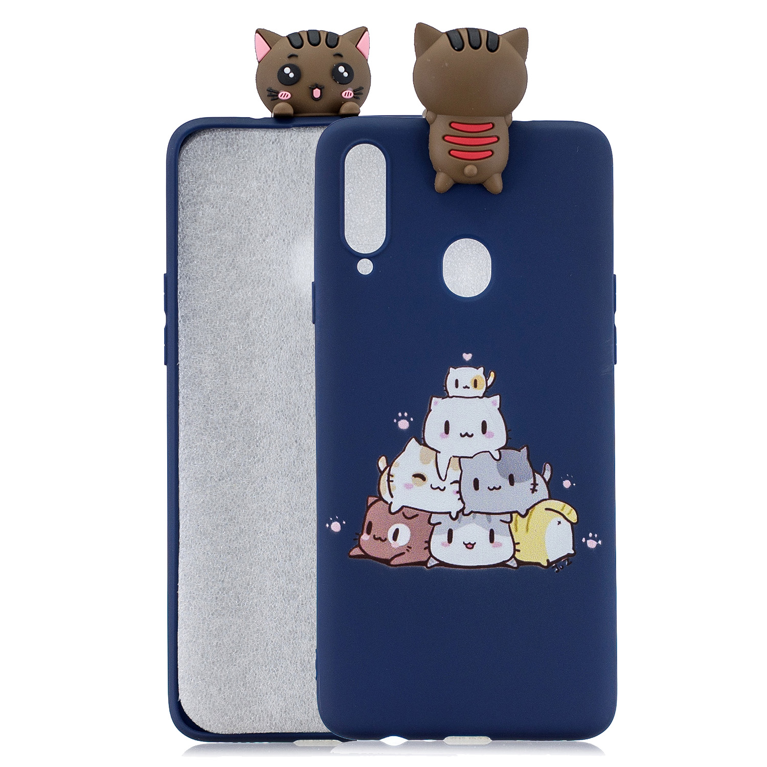 For Samsung A10S A20S Color Painting 3D Cartoon Animal Full Protective Soft TPU Mobile Phone Case sapphire