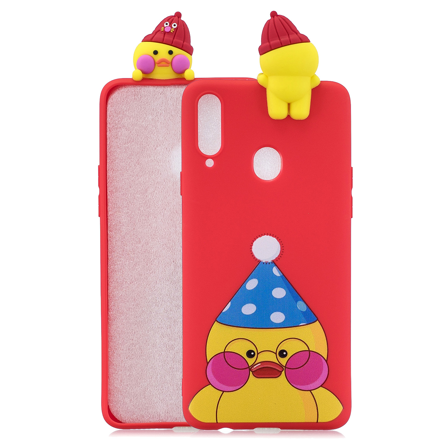 For Samsung A10S A20S Color Painting 3D Cartoon Animal Full Protective Soft TPU Mobile Phone Case red
