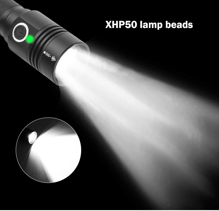 LED XHP50 Dimming High Brightness Flashlight 800-1000LM black_1474