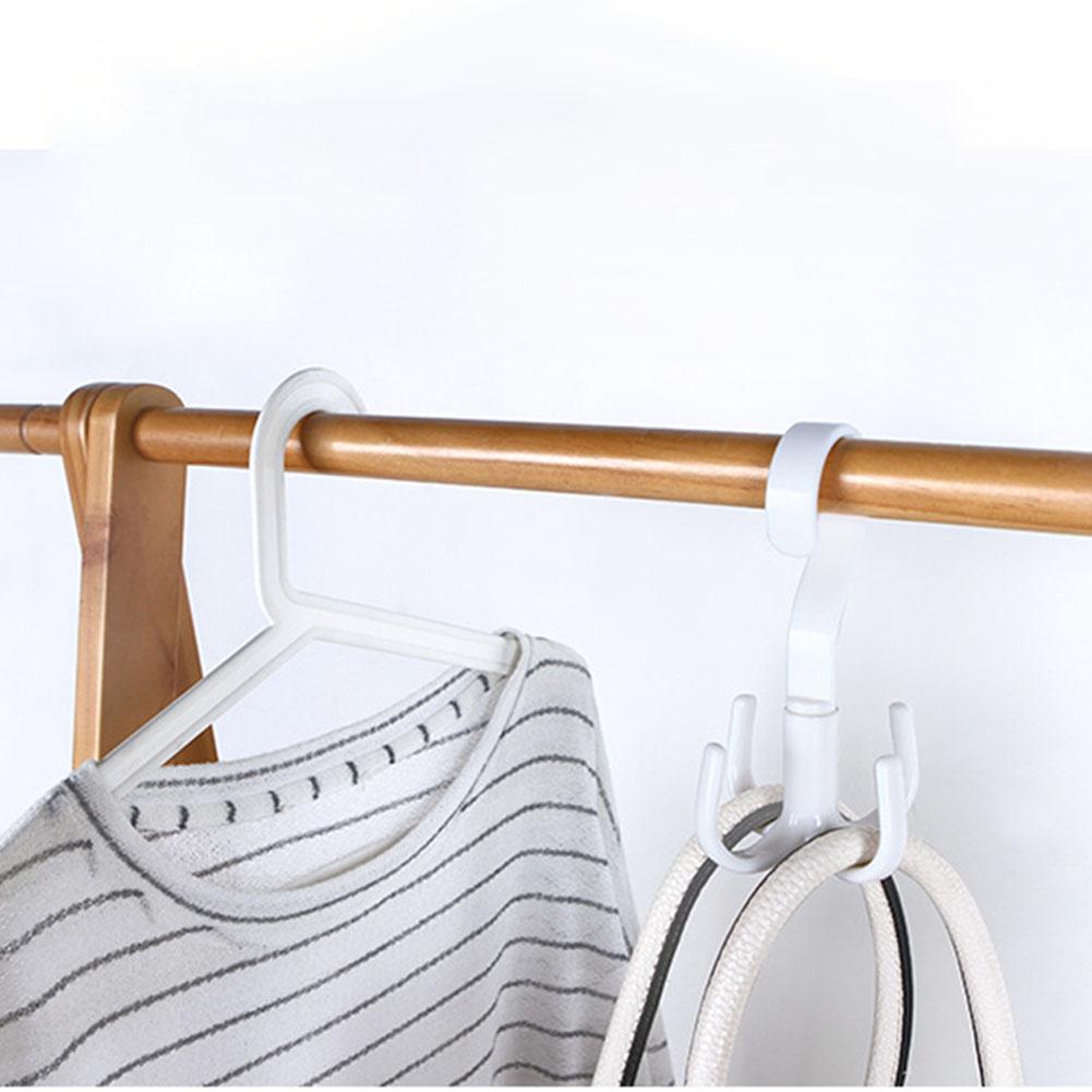 1Pc Hook Hanger 360 Degrees Rotated 4 Hooks Handbag Clothes Ties Bag Holder Shelf Hanger Hanging Rack Storage Organizer Hooks white