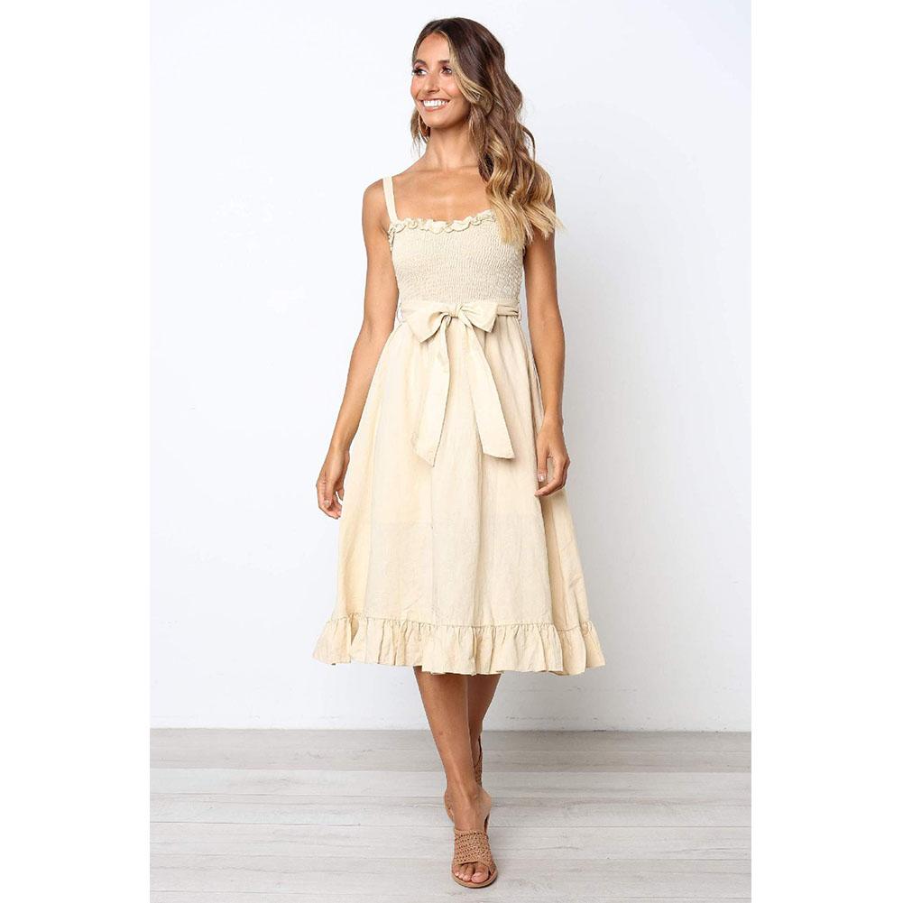 Women Shoulder Strap Fashion Waist-tied Bowknot Dress