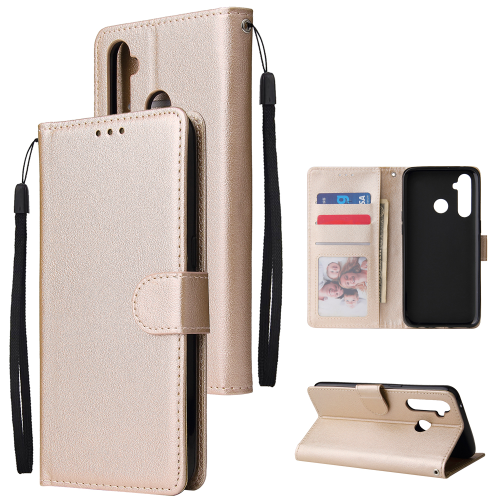 For OPPO Realme 5 Rro Cellphone Cover Buckle Closure Cards Holder Wallet Design Stand Function PU Leather Smart Shell Overall Protection  gold