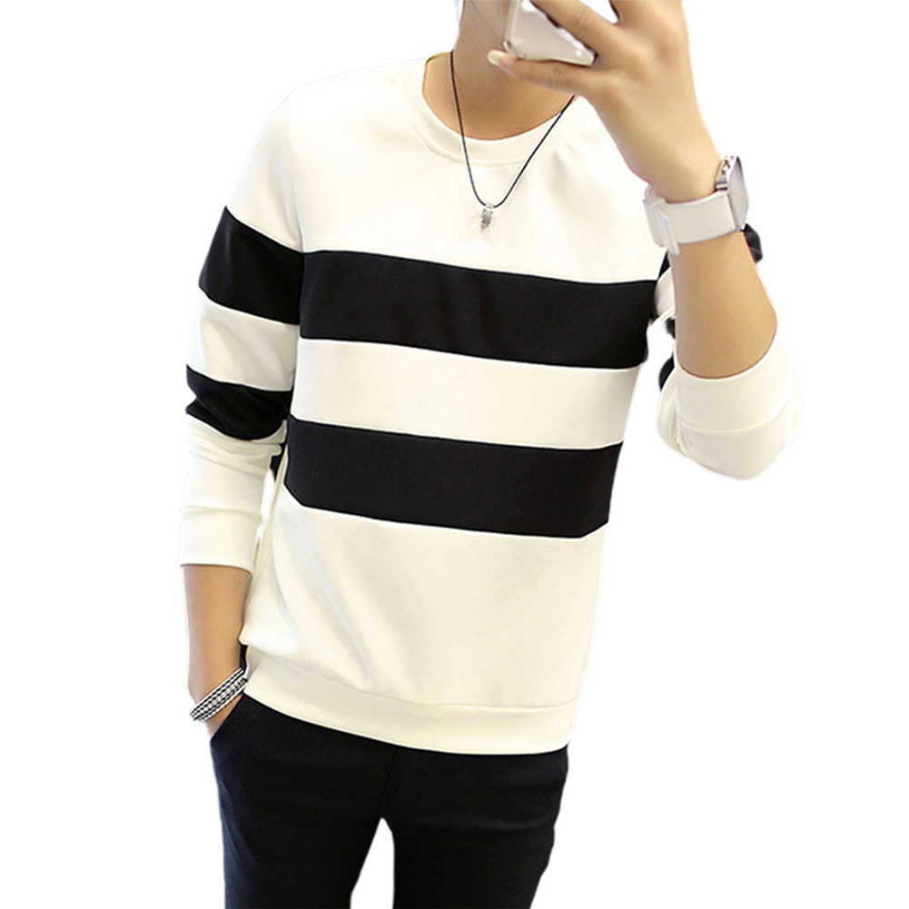 Men Stripe Crew-Neck Long Sleeve T-shirt Long Sleeve T-shirt for Office Casual black strip_L