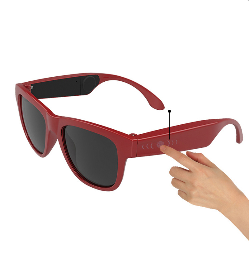 G1 Glasses Bone Conduction Headphone Ear Carer Touch Panel Filter UV Ray  Sunglasses Bluetooth 4.0 Headset  red