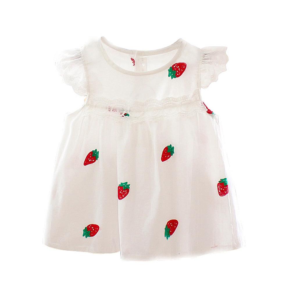 Girl Kids Summer Dress Short Sleeve Ruffled Strawberry Pattern Breathalbe Cotton Princess Dress red_100cm