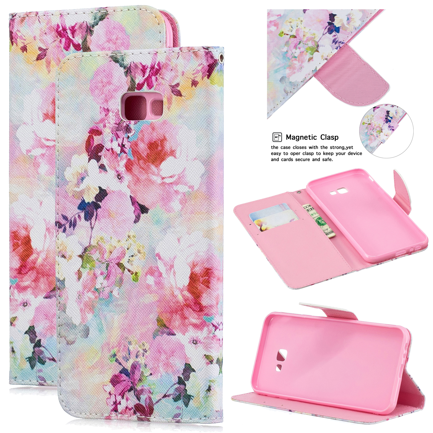 For Samsung J4 Plus/J6 Plus Cartoon Phone Shell Delicate Smartphone Case PU Leather Overall Protective Wallet Design Watercolor flower