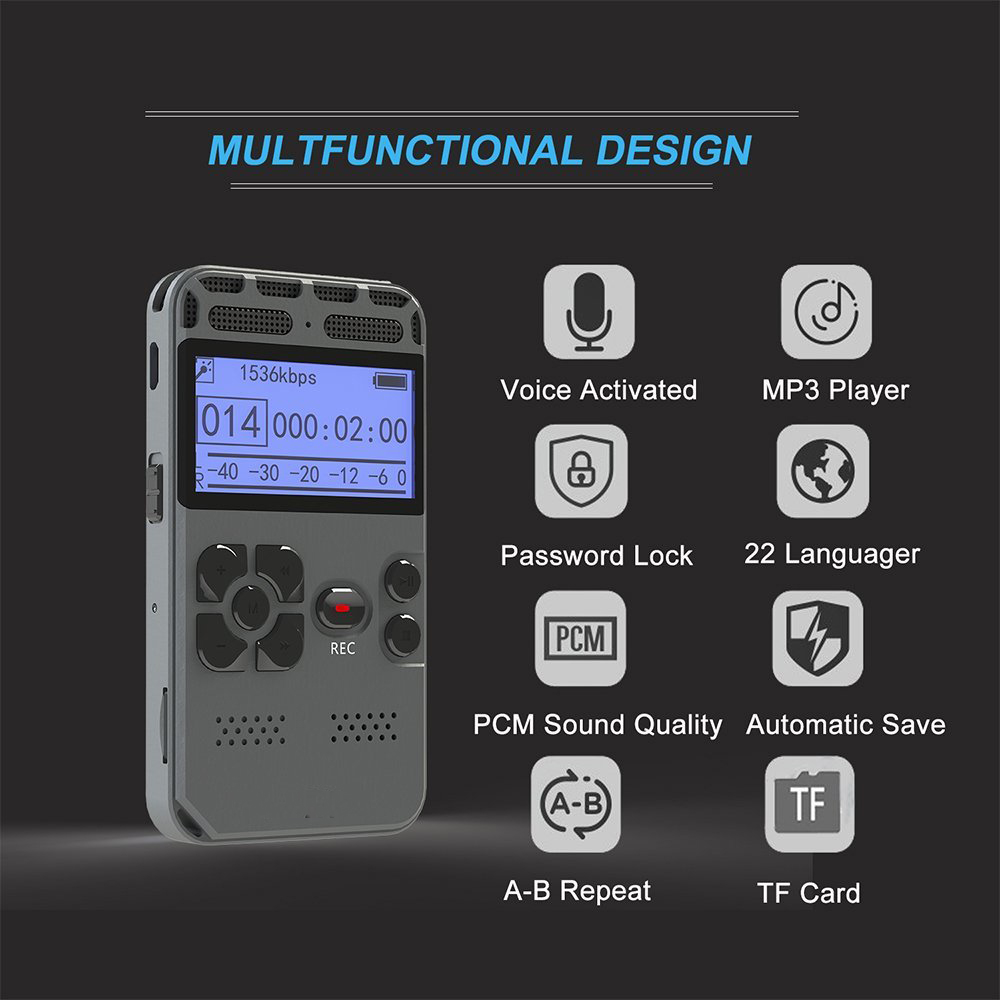 Digital Voice Recorder Audio Recording Dictaphone MP3 LED Display Voice Activated 8GB Black 8GB