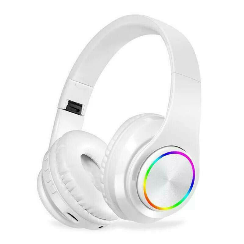 Wireless Luminous Headphones Bluetooth V5.0 Earphones Over-Ear Stereo Super Bass Headset with Microphone white