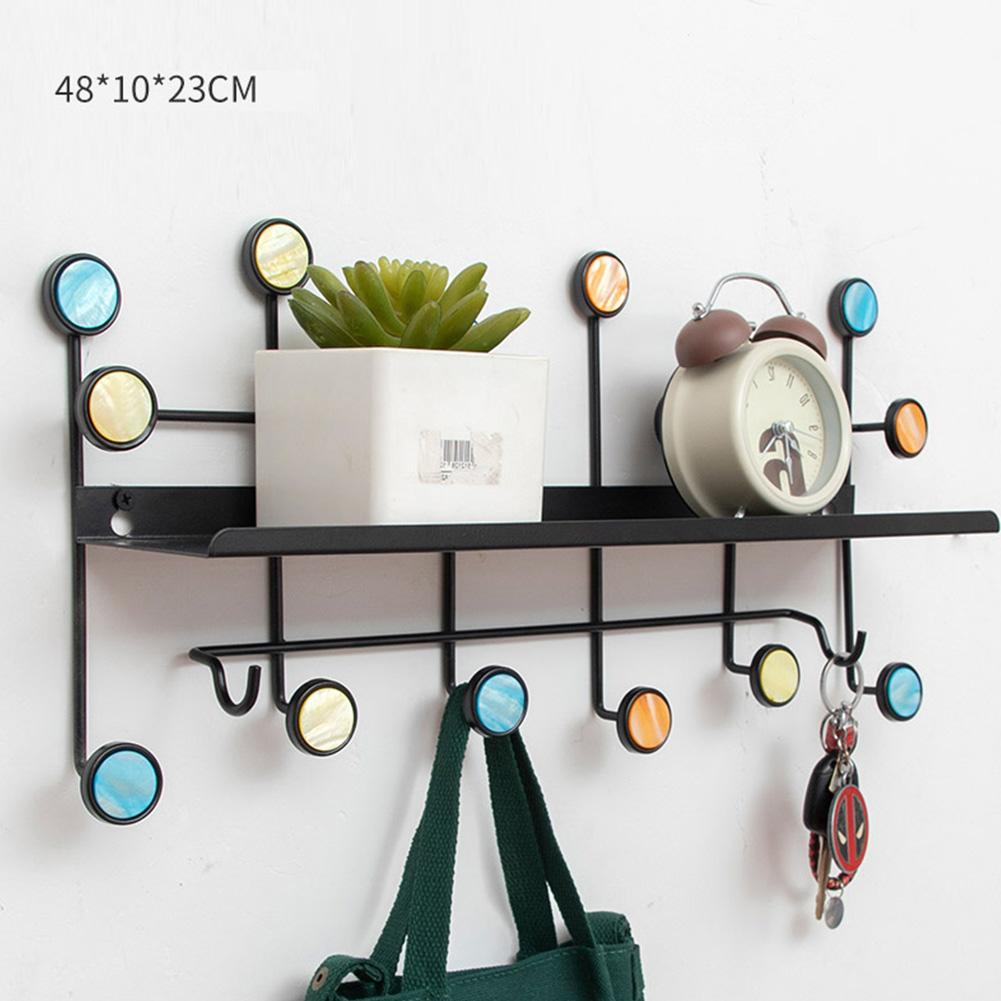 Wall Mounted Coat Hanger Shelf with Hooks for Home Cloakroom Living Room Bedroom Hallway Decor black_48 * 10 * 23cm