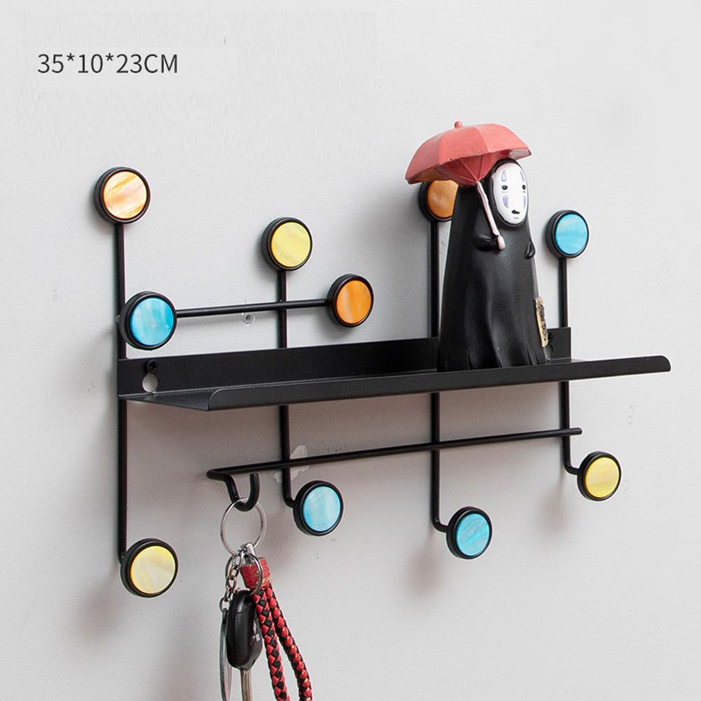 Wall Mounted Coat Hanger Shelf with Hooks for Home Cloakroom Living Room Bedroom Hallway Decor black_35 * 10 * 23cm