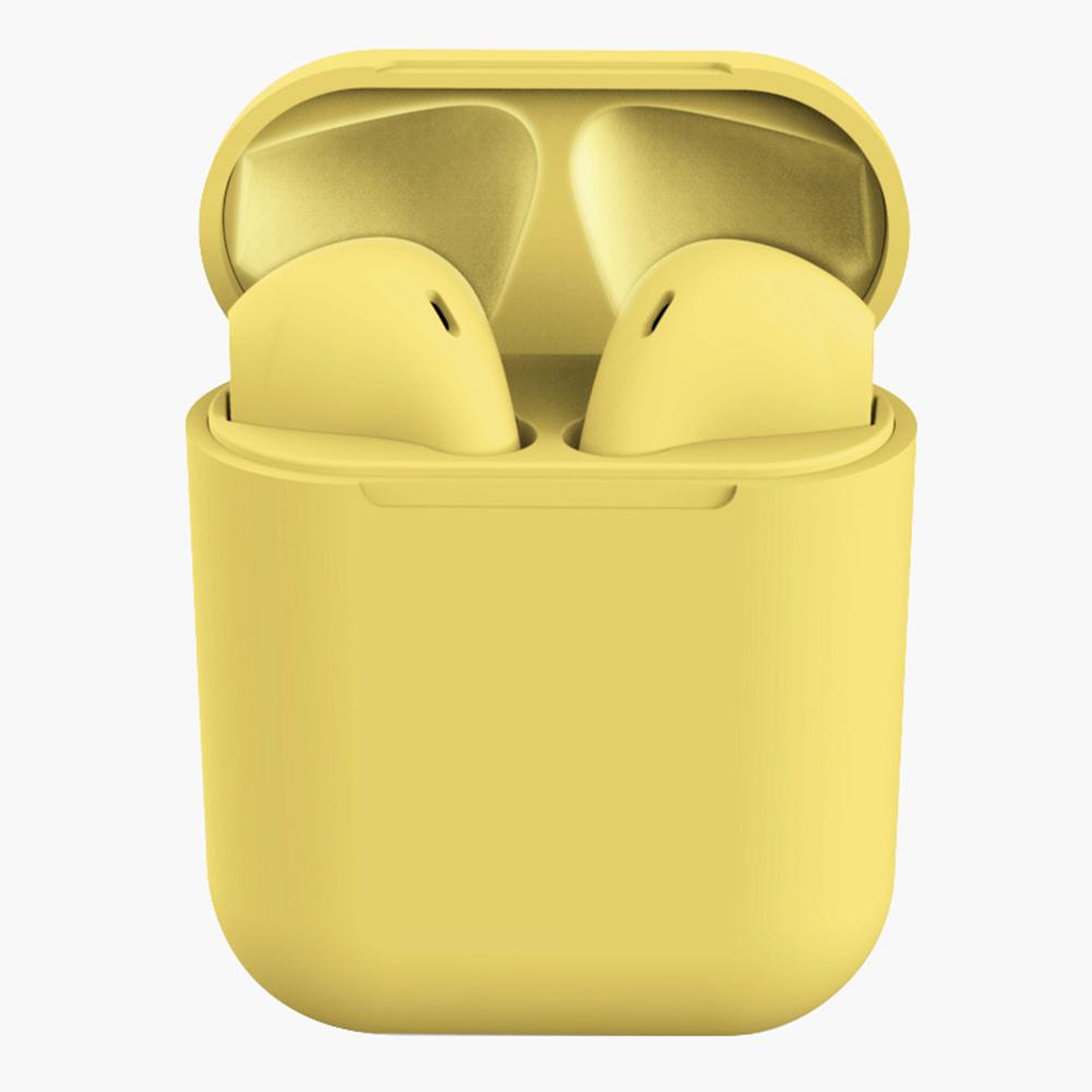 Tws Macaron I12 Wireless Headphones Bluetooth Earphone Headset Super Bass Sound Earbuds Yellow