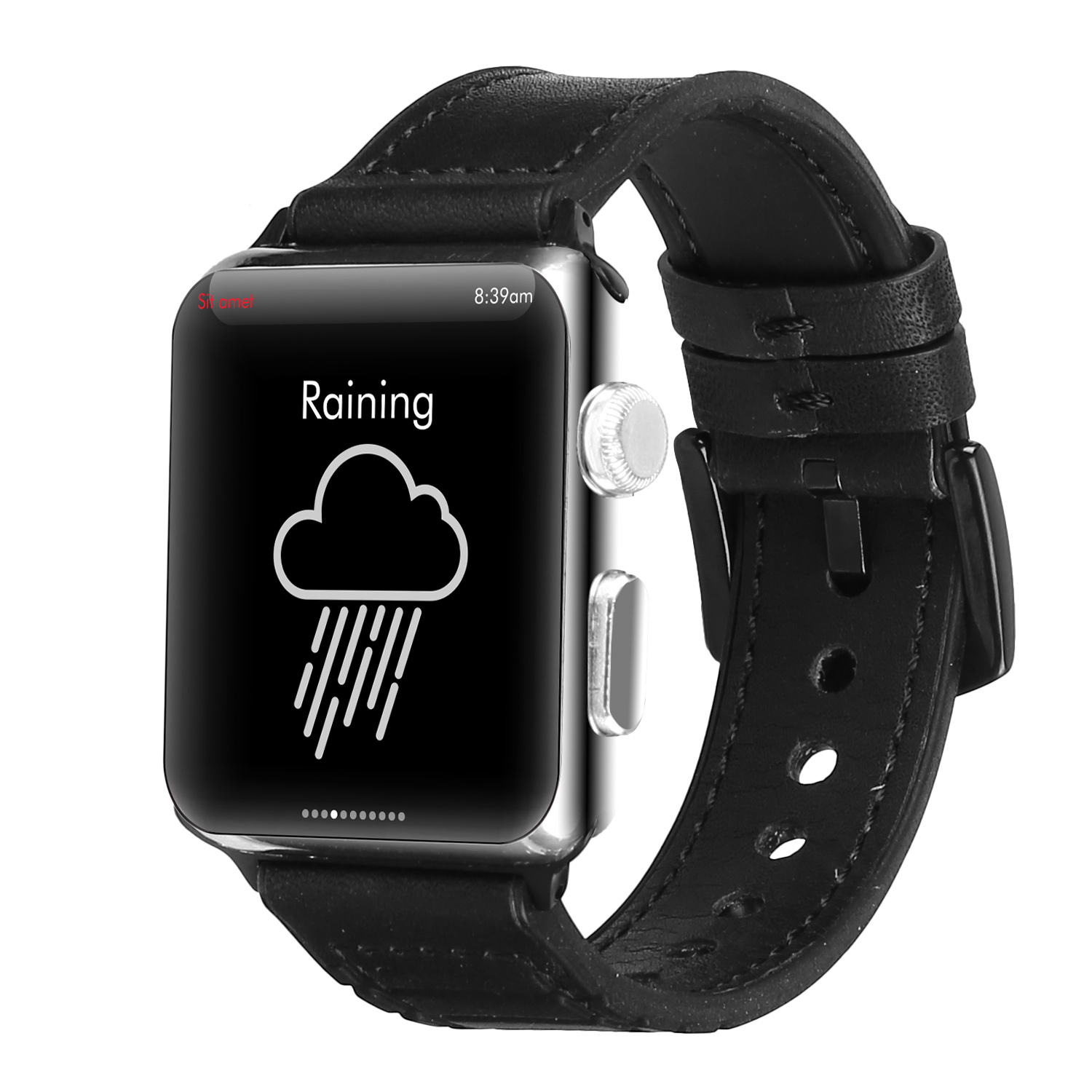 Compatible with Apple Watch Band 42mm 44mm Leather Band Replacement Compatible with Apple Watch Series 4 Series 3 Series 2 Series 1 Sport Edition black_38-40MM