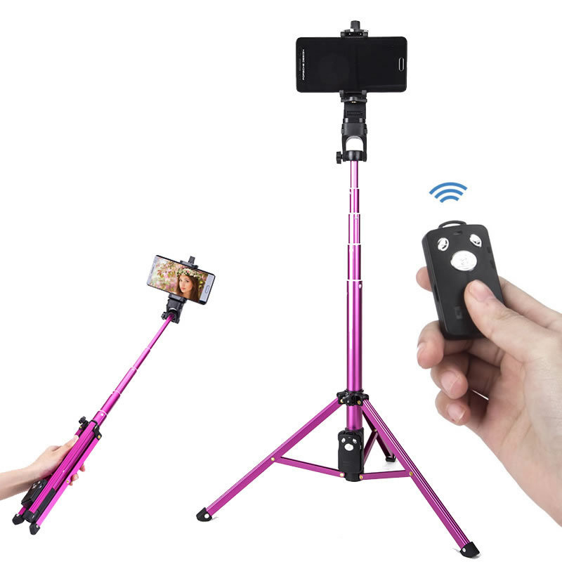 Selfie Stick Tripod Extendable Camera Tripod for Cellphone Wireless Remote for Apple & Android iPhone 8 X Plus Samsung Galaxy S9 Note8 rose Red