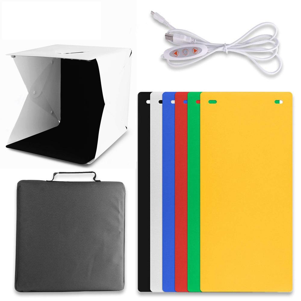 2 LED Folding Lightbox Photography Photo Studio Softbox Adjustable Brightness Light Box For DSLR Camera Dual LED