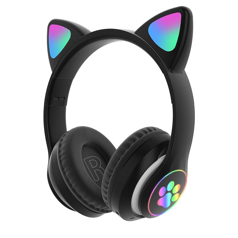 Children's Headphone Rgb Luminous Cartoon Animal Shape Bluetooth Headset black