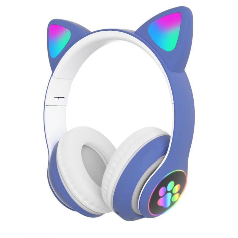Children's Headphone Rgb Luminous Cartoon Animal Shape Bluetooth Headset blue
