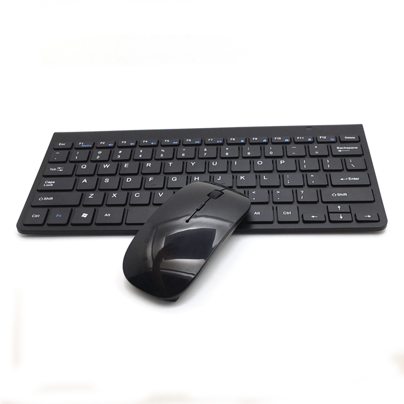 2  Pcs/set Wireless Keyboard Mouse Ultra-thin 2.4g For Keyboard+  Mouse for  Laptop  Pc black