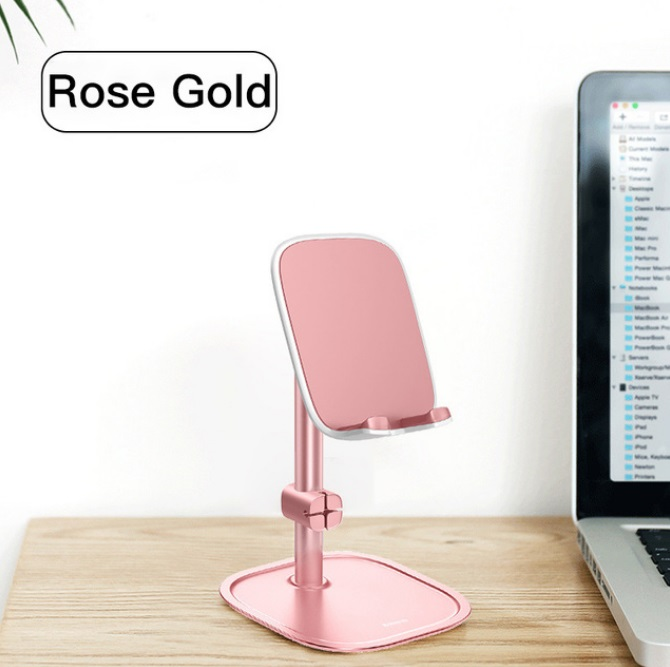 Mobile Phone Stand Holder for iPhone iPad Air Smartphone Metal Desk Desktop Phone Mount Holder for Xiaomi Huawei Tablet Rose gold