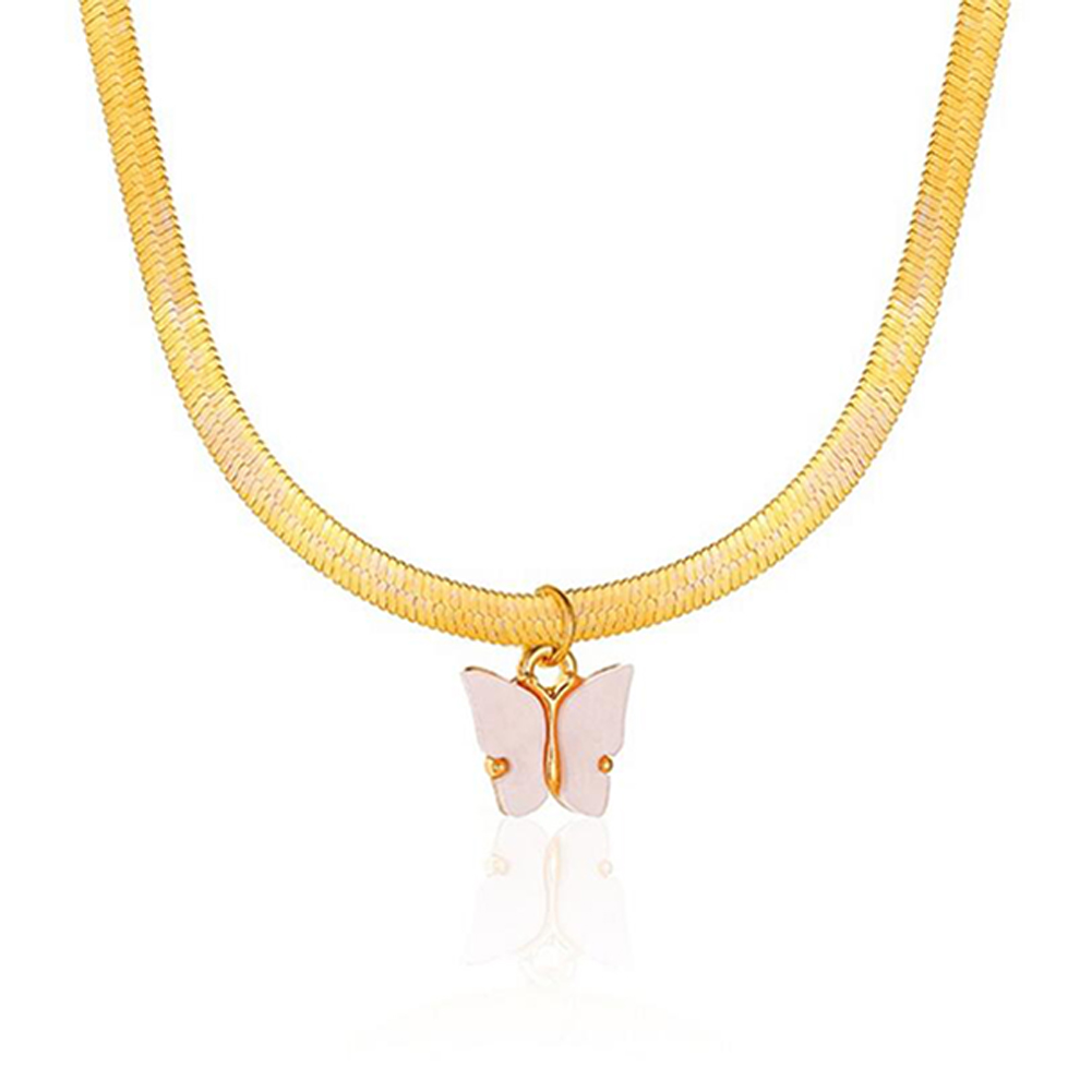 Women's Necklace Simple Style Butterfly-shape Clavicle Chain 02 light powder