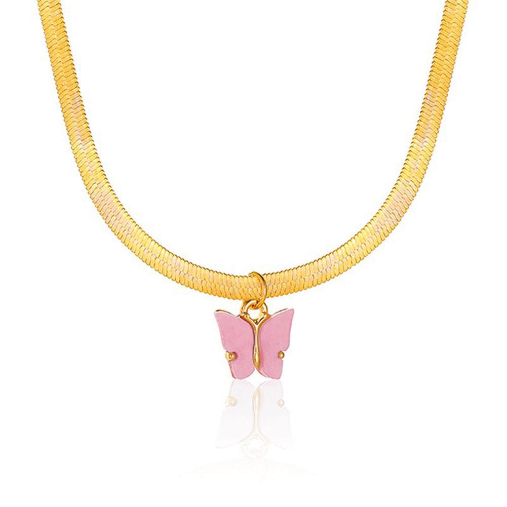 Women's Necklace Simple Style Butterfly-shape Clavicle Chain 03 deep powder