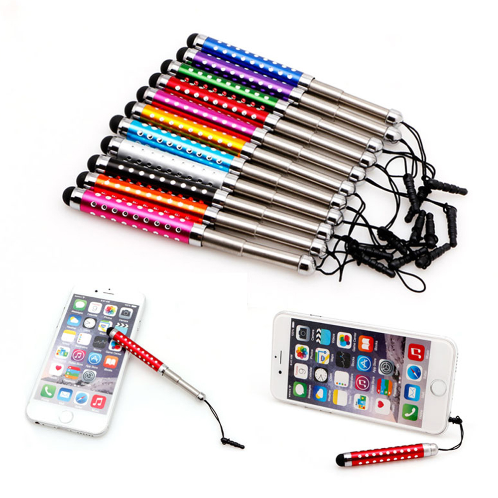 Touch Screen Pen Unique Retractable Capacitive Diamond Stylus for iPhone iPad Tablet PC Random_5 pcs