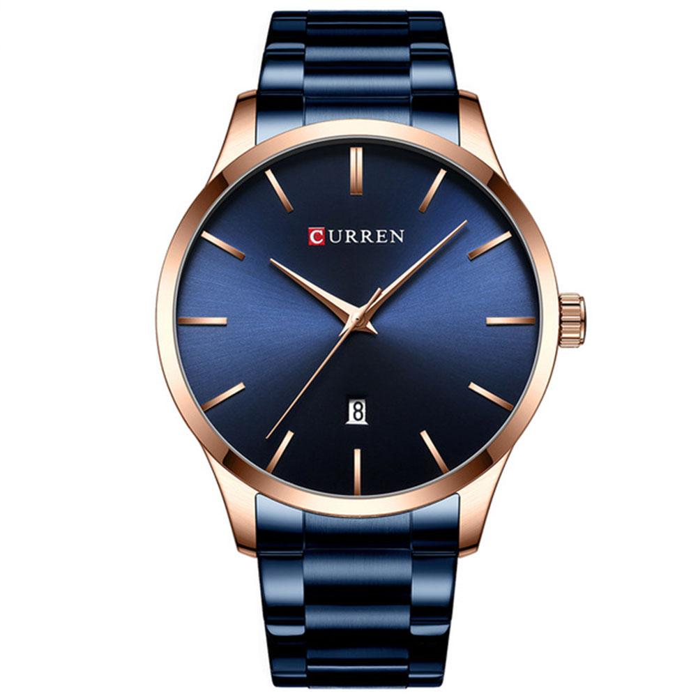 Men Business Quartz Watch Date Display Waterproof Stainless Steel Band Simple Wristwatch Blue