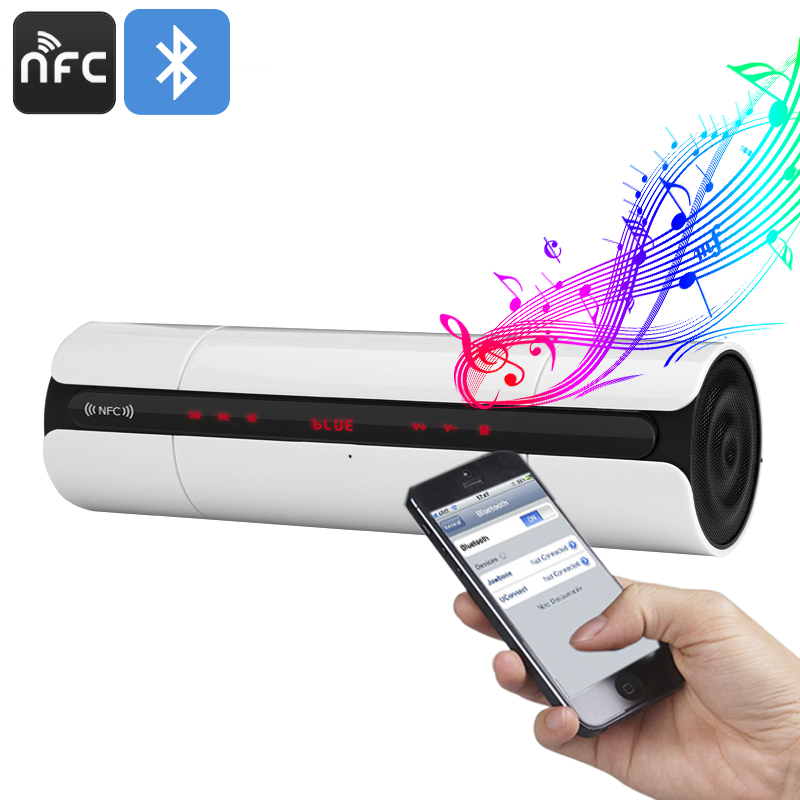 Wireless Bluetooth Speaker - Built-In-Mic, NFC, 32GB TF Card Slot, 3D Sound Technology, 4 Hours Play Time, FM Radio (White)