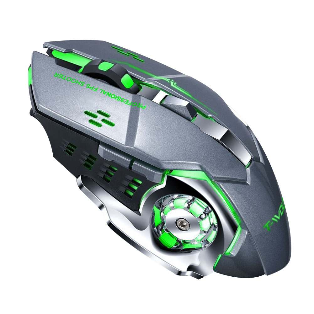Rechargeable Wireless Mouse Silent Ergonomic Gaming Mice 6 Keys RGB Back-light for Laptop Computer Pro Gamer Q13 iron gray mute