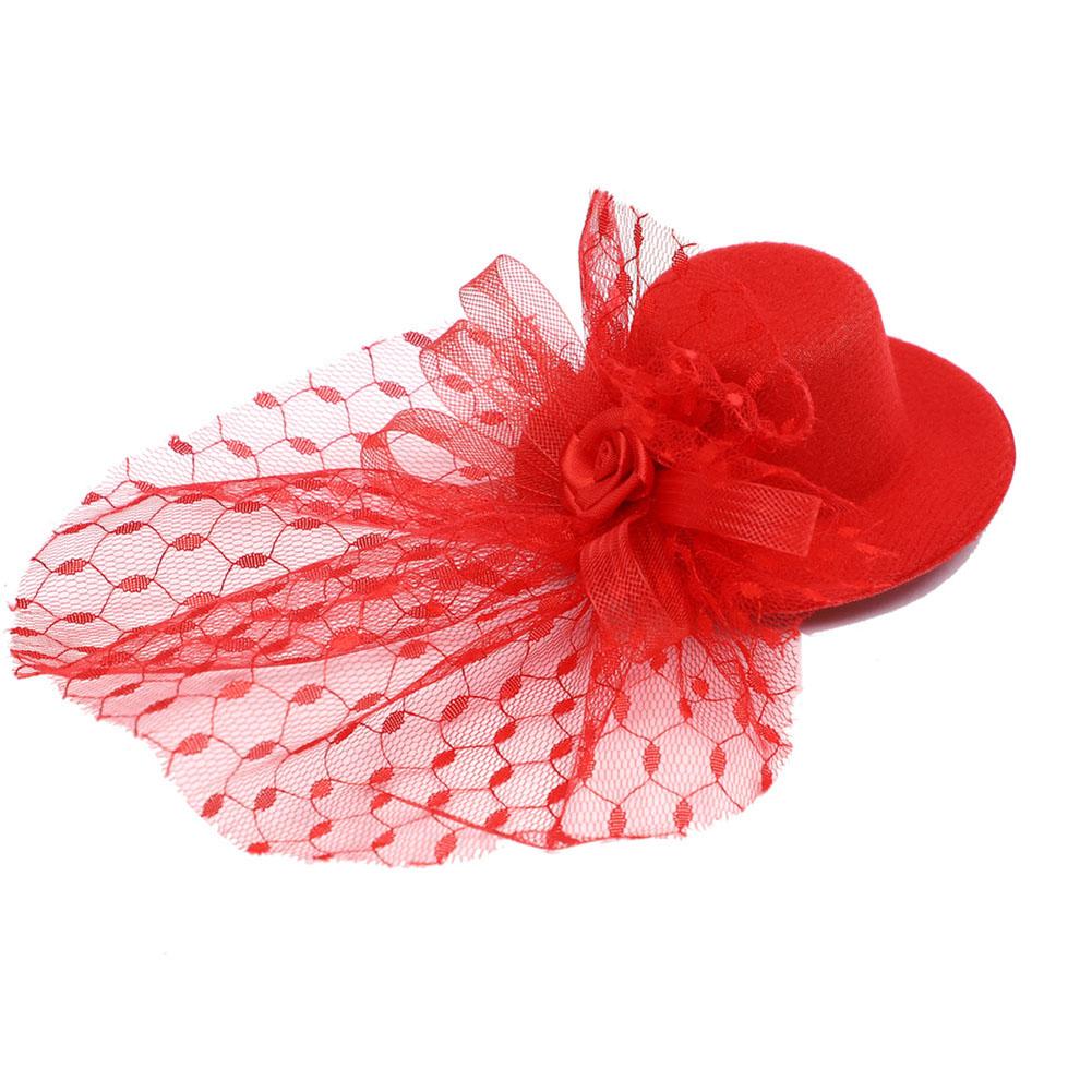 Pet Christmas Halloween Festival Hat Headwear Feather Hat Cat Dag Screen Yarn Hat Christmas red_One size