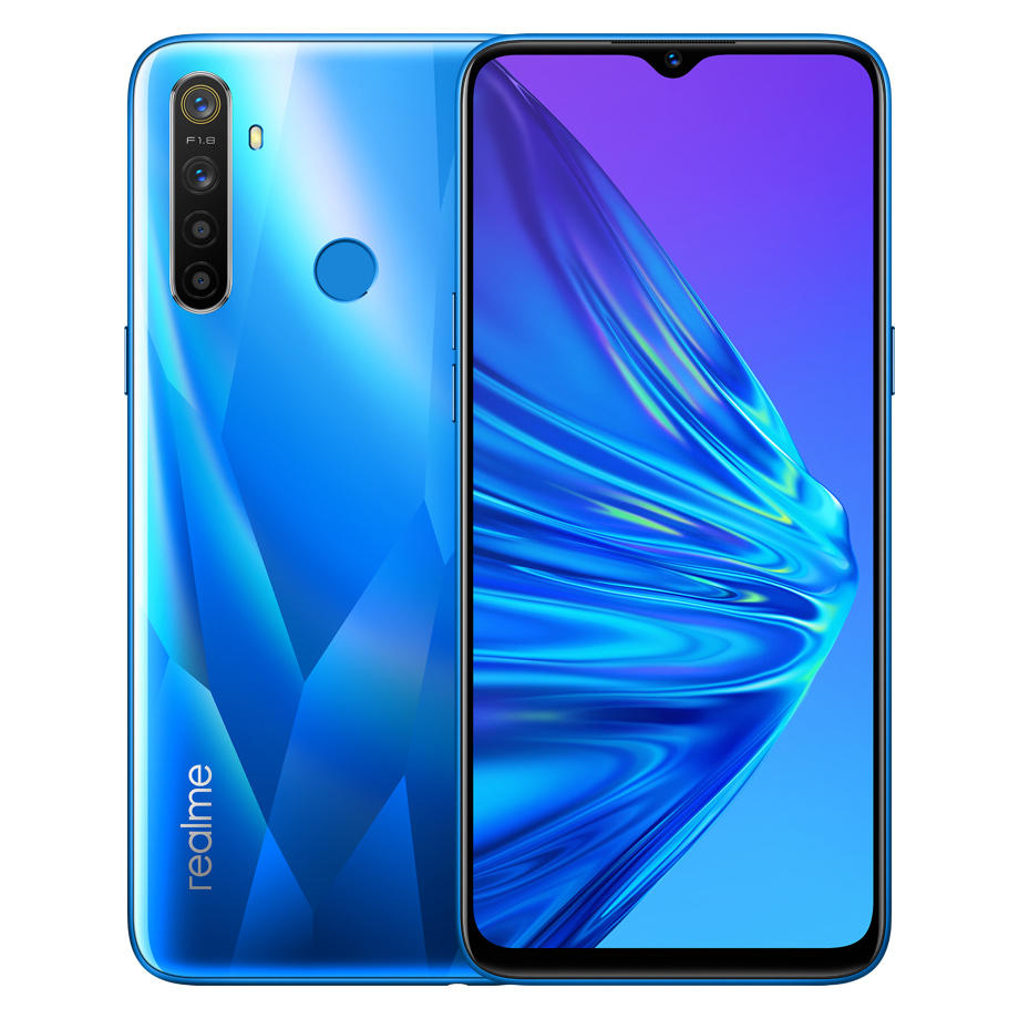 Realme 5 Global Version 3GB 64GB 6.5'' Mobile Phone Snapdragon 665 12MP Quad Camera Cellphone 5000mAh Fast Charger EU Plug blue_3+64