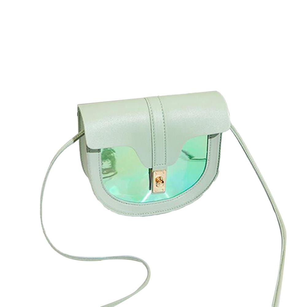 Women Small Saddle Bag Contrast Color Single Strap Cross-body PU Leather Messenger Bag green