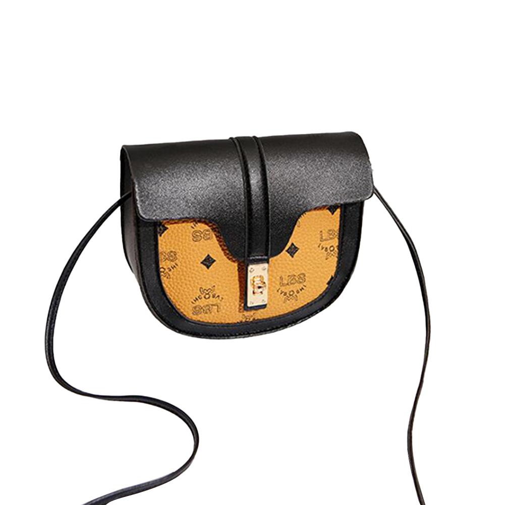 Women Small Saddle Bag Contrast Color Single Strap Cross-body PU Leather Messenger Bag Black (regular version)