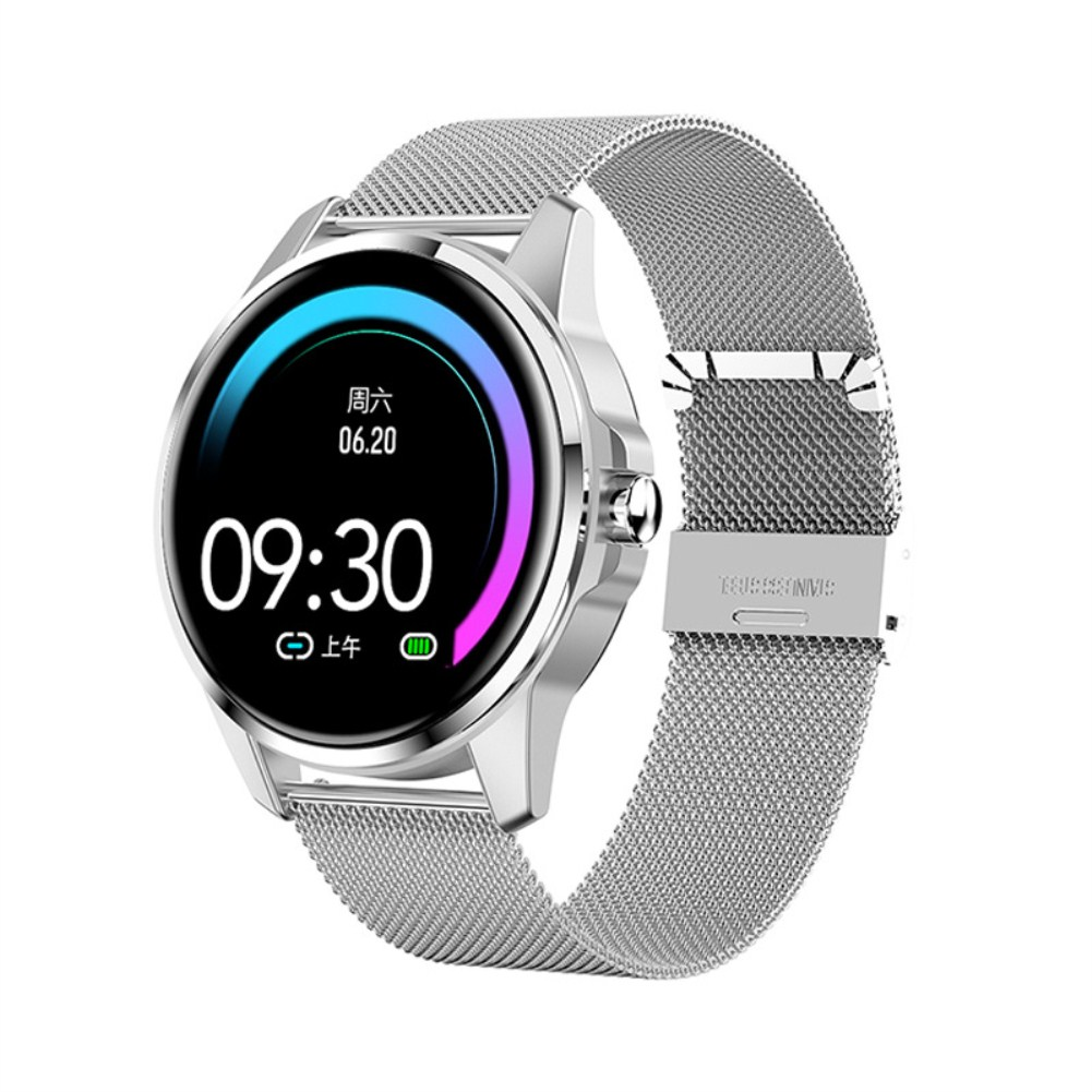 R23 Smart Bracelet Blood Pressure Heart Rate Monitor Fitness Tracker Sports Step Count Smart Band Silver steel strap