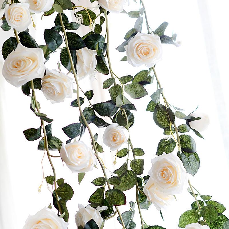 [EU Direct] 6 Feet Hand-made Artificial Silk Rose Vines Decorative Fake Rose Flower for Home Wall Garden Wedding Party Decor White